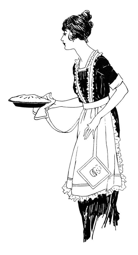 Woman with apron clipart picture free download vintage food clipart, woman serving pie, free black and ... picture free download