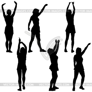 Woman with arms raised clipart clipart freeuse stock Black set silhouettes woman with arm raised - vector clip art clipart freeuse stock