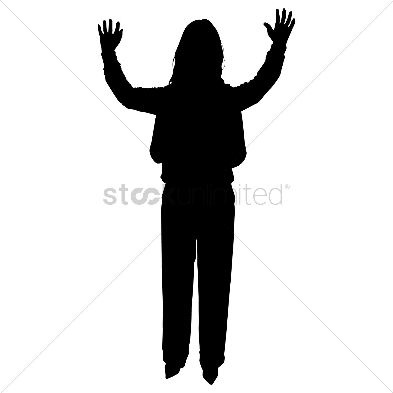Woman with arms raised clipart vector free library Silhouette of a woman with hands raised Vector Image ... vector free library