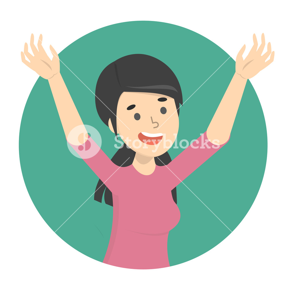 Woman with arms raised clipart banner black and white library Happy woman with raised up arms. Excited girl Royalty-Free ... banner black and white library