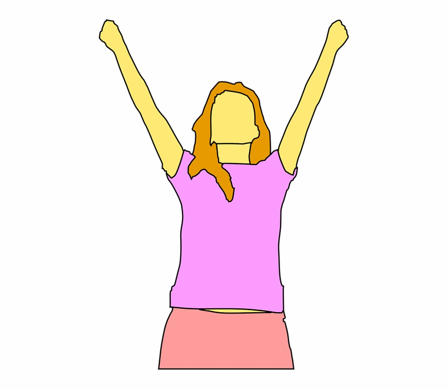 Woman with arms raised clipart graphic transparent download Woman Happy Girl Lady Hands Raised Exercises - Person ... graphic transparent download