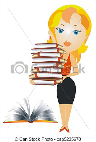 Woman with books clipart png free stock Vector Clipart of vector blonde woman with books - blonde woman in ... png free stock