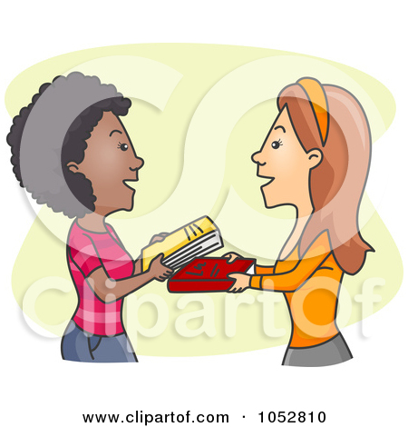 Woman with books clipart clip art library Royalty-Free Vector Clip Art Illustration of Women Exchanging ... clip art library