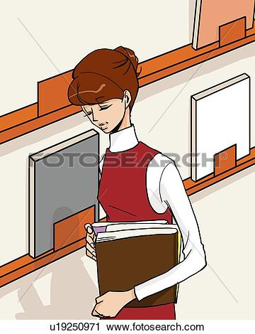 Woman with books clipart picture black and white stock Clipart of Woman holding books and standing beside book self, eyes ... picture black and white stock