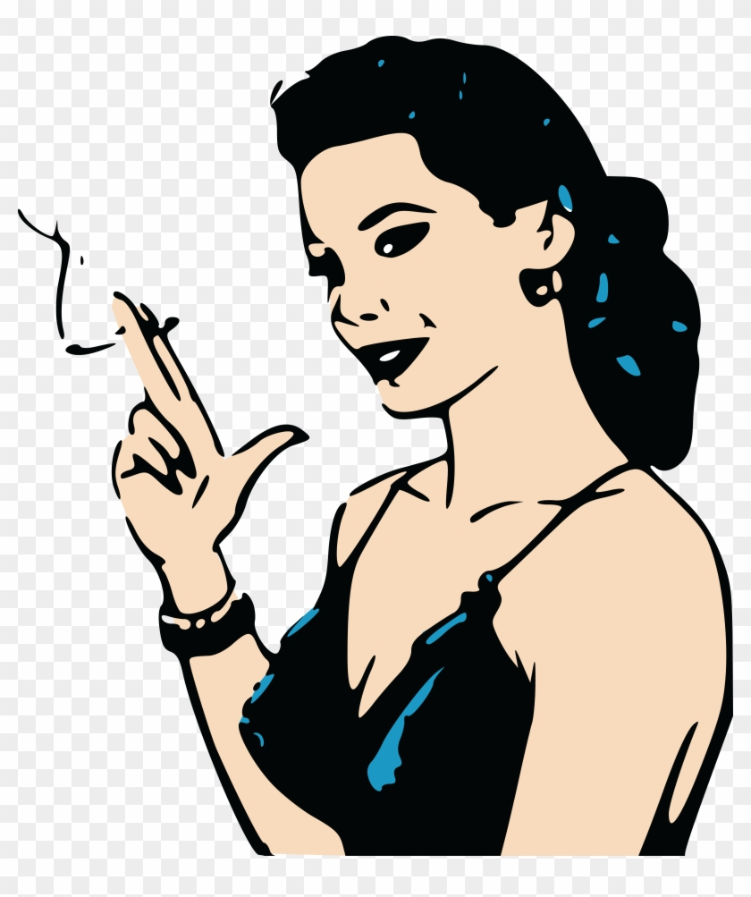 Woman with cigar clipart clip free Ai, - Eps, - Svg, - Free Clipart Of A Retro - Cartoon Of ... clip free