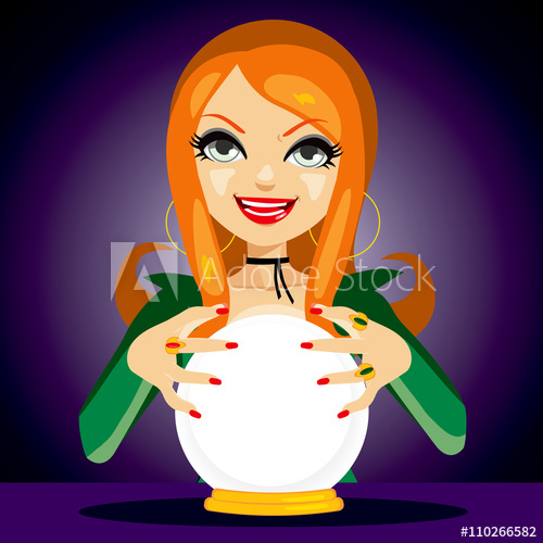 Woman with crystal ball clipart transparent download Beautiful red haired fortune teller woman reading future on ... transparent download