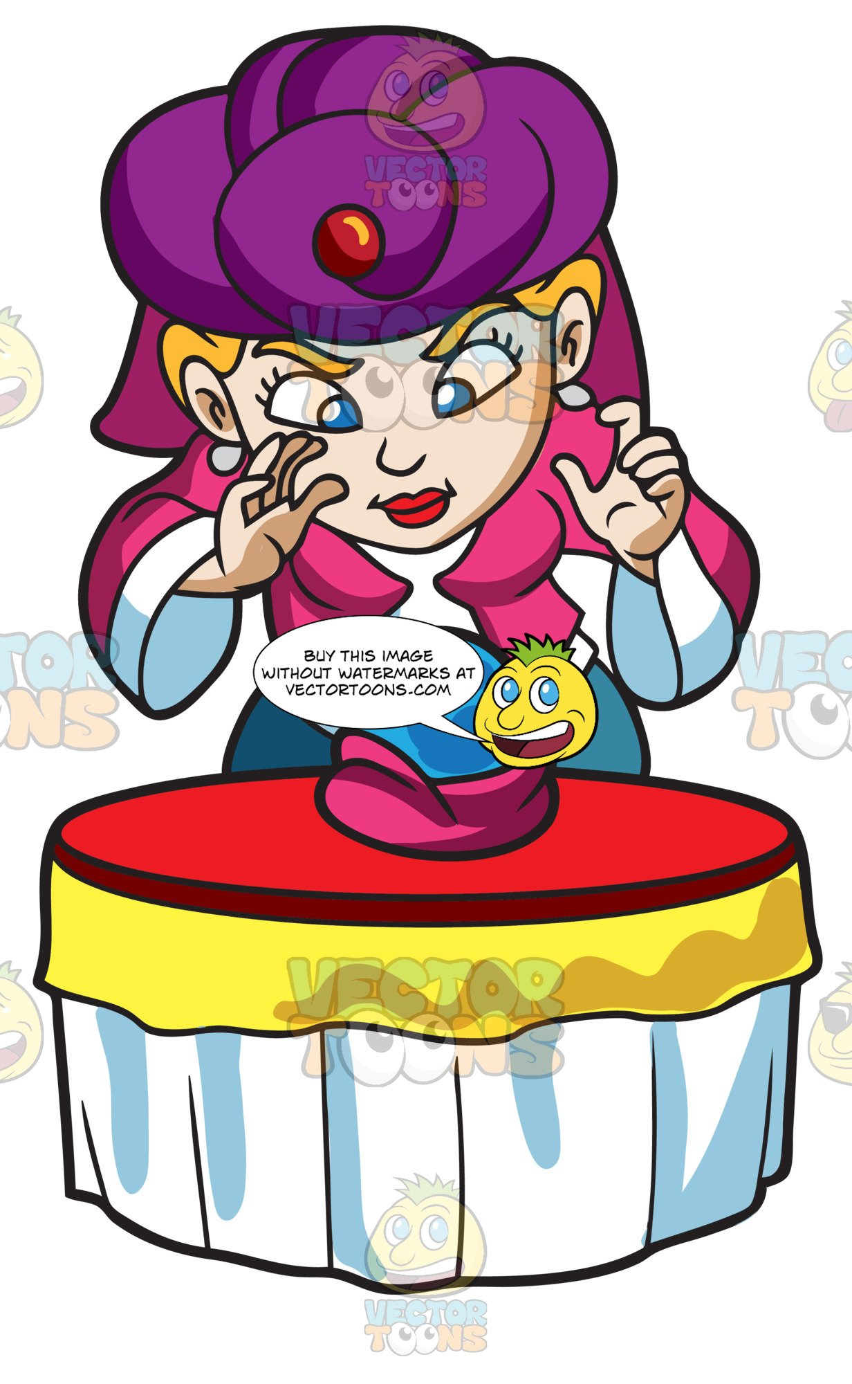 Woman with crystal ball clipart vector black and white stock A Fortune Teller Using A Crystal Ball vector black and white stock