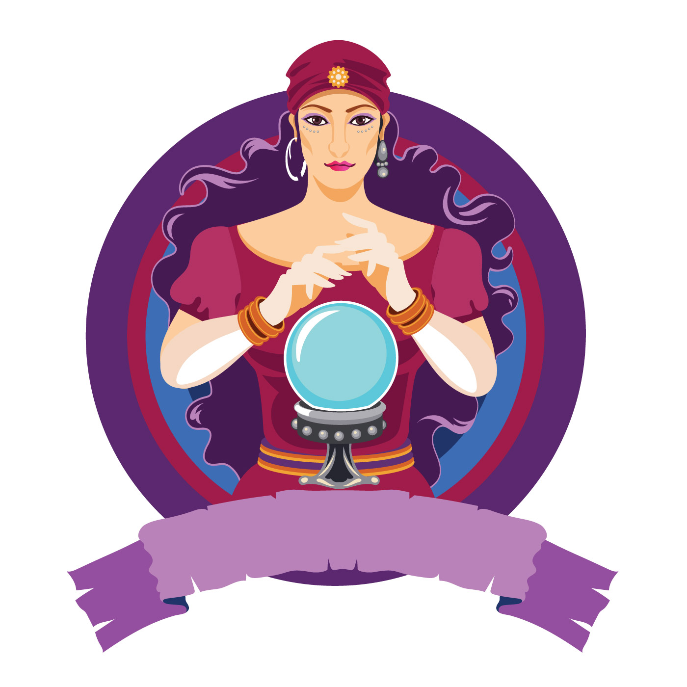 Woman with crystal ball clipart banner freeuse Mystical Woman Free Vector Art - (43 Free Downloads) banner freeuse