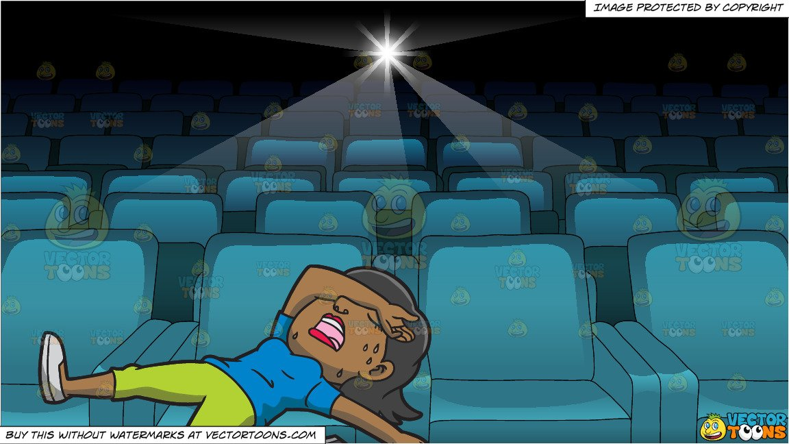 Woman with hair covering her eye clipart royalty free stock A An Exhausted Woman Lying On The Ground Covering Her Eyes With Her Arm and  Inside A Movie Projection Theater royalty free stock