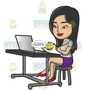 Woman with laptop clipart image black and white stock A Pretty Woman Using Her Laptop image black and white stock