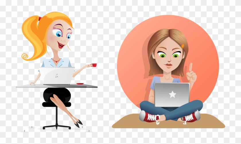 Woman with laptop clipart graphic transparent stock Girl Clip Art A Who Is Shopping Ⓒ - Girl With Laptop ... graphic transparent stock