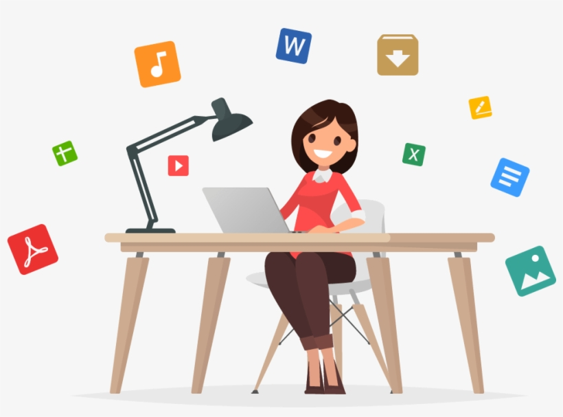 Woman with laptop clipart svg free download Access Your Files Like A Pro With Pcloud Premium Plus ... svg free download