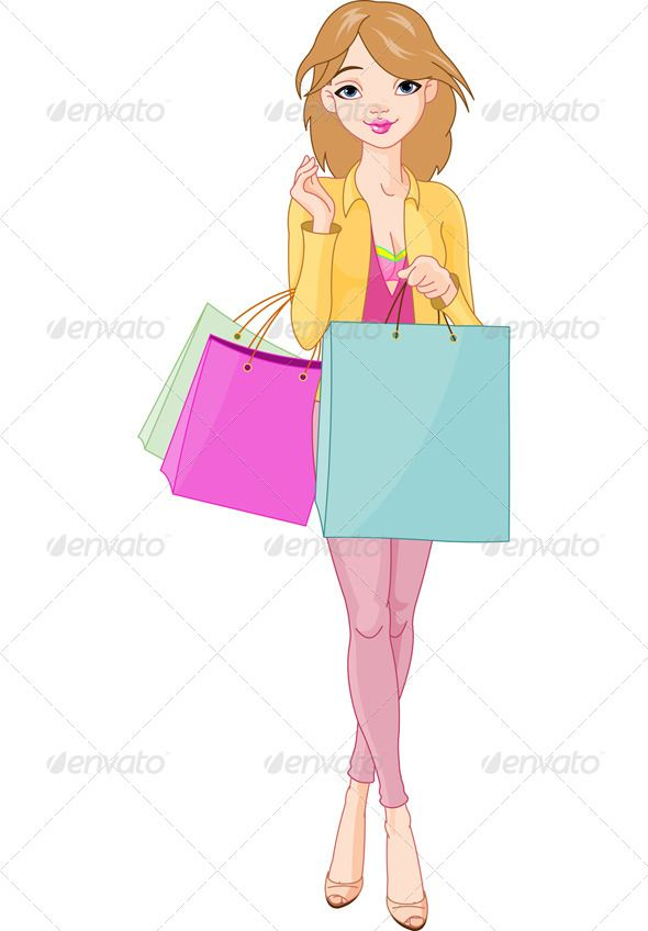 Woman with suitcases caricatures clipart clip free library Girl with Shopping Bags | clipart | Shopping clipart ... clip free library