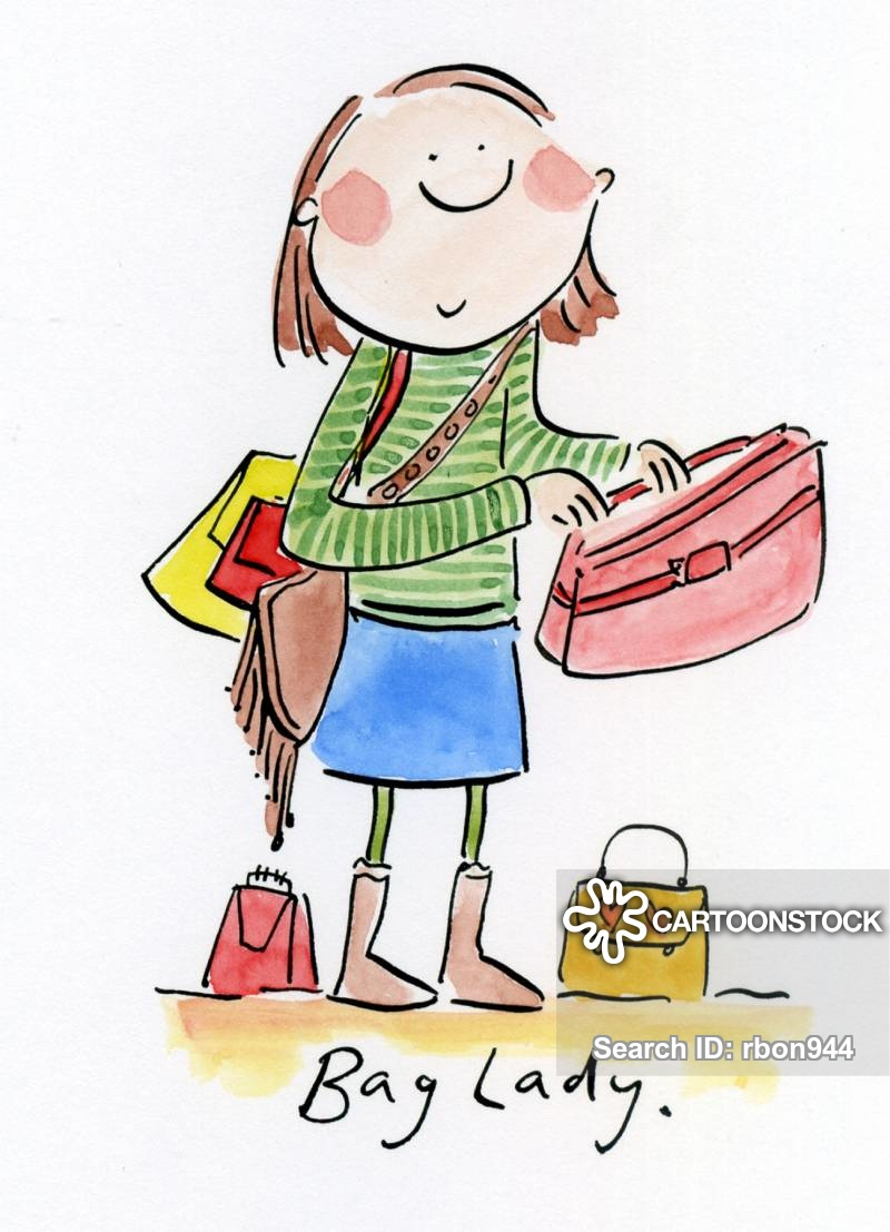 Woman with suitcases caricatures clipart vector freeuse stock Bag Lady Cartoons and Comics - funny pictures from CartoonStock vector freeuse stock
