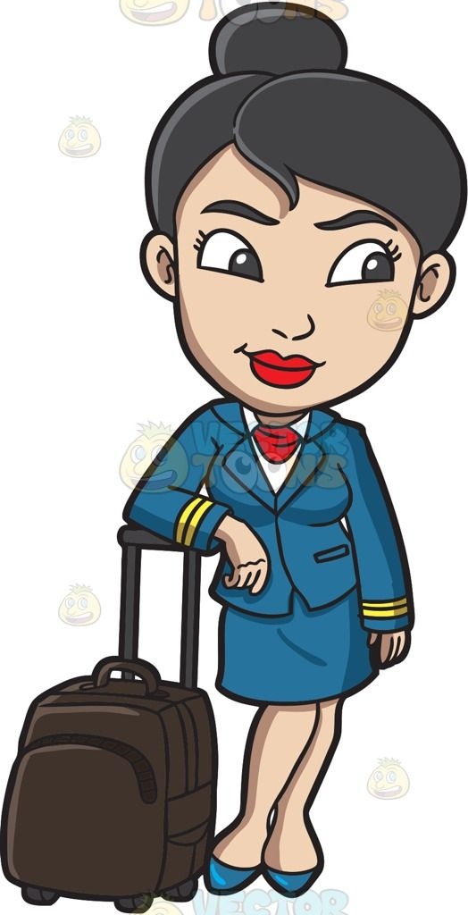Woman with suitcases caricatures clipart picture black and white stock A female flight attendant after her duty : A woman with ... picture black and white stock