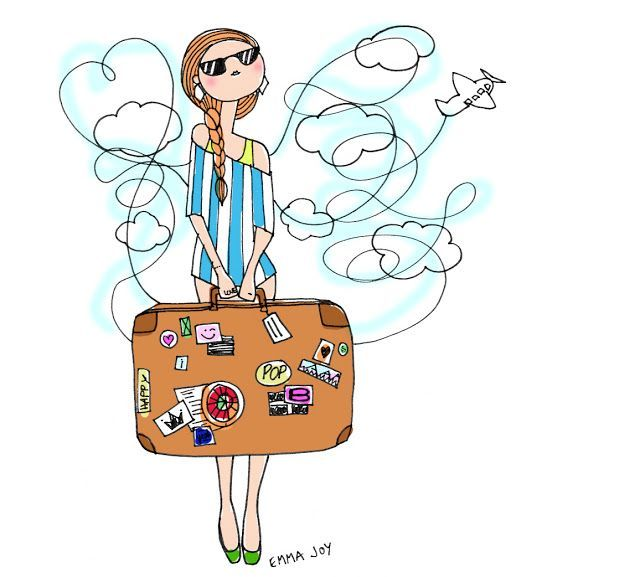 Woman with suitcases caricatures clipart graphic royalty free stock Woman with a suitcase drawing | illustrations | Travel ... graphic royalty free stock