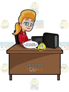 Woman working at computer desk clipart image freeuse stock Blonde Woman Sitting At A Desk Working On A Computer image freeuse stock