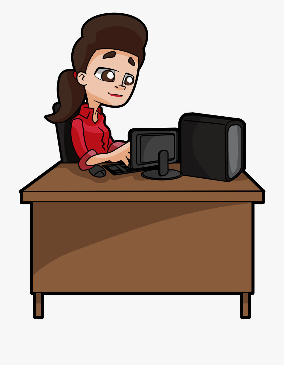 Woman working at computer desk clipart clip royalty free download A Woman Sits Deeply Focused At Her Desk, Typing At - Clipart ... clip royalty free download