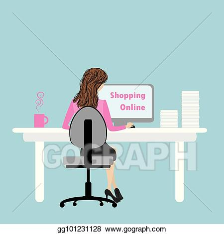Woman working at computer desk clipart picture transparent library Vector Clipart - Business woman or office worker working on ... picture transparent library