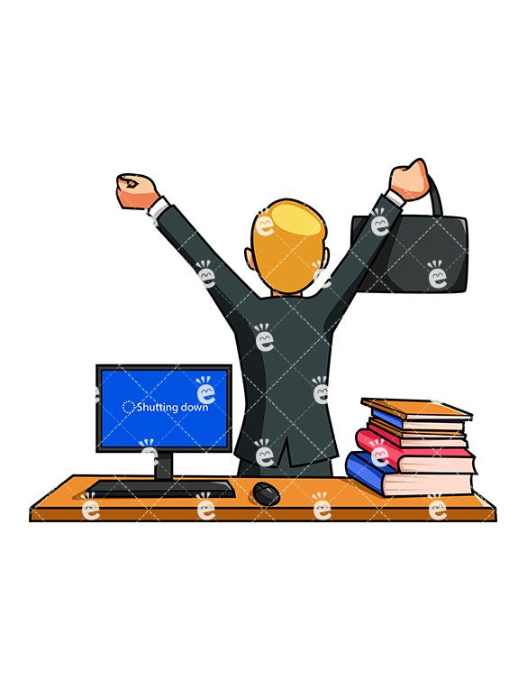 Woman working at desk clipart looking down clipart freeuse stock A Businessman Walking Away From His Desk At The End Of The ... clipart freeuse stock