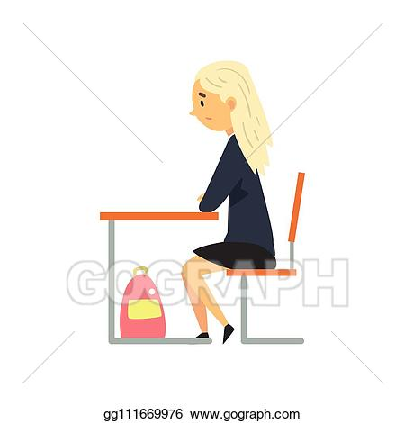 Woman working at desk clipart looking down picture black and white library Vector Clipart - Diligent female student sitting at desk in ... picture black and white library
