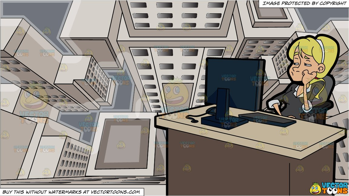 Woman working at desk clipart looking down svg A Bored Woman Using A Computer At Work and Looking Down From The Top Of A  Skyscraper Background svg
