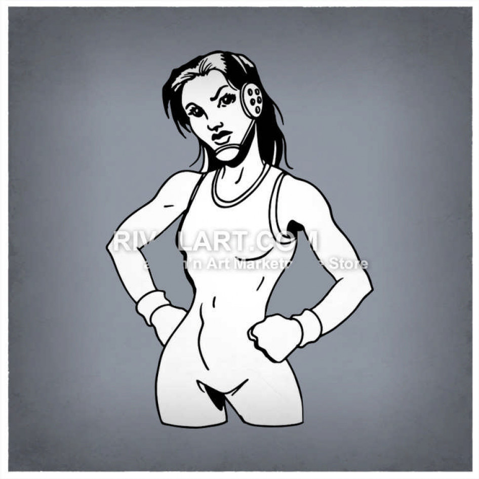 Woman wrestler clipart image free Female Wrestler With Hands On Hips Wearing A Singlet image free