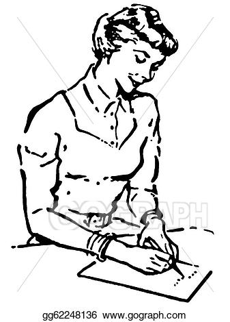 Woman writing hand clipart black clip art black and white download Drawing - A black and white version of a vintage style ... clip art black and white download