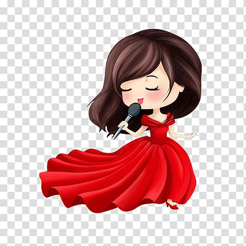Womans hand holding mic clipart clip royalty free Brunette haired woman wearing red dress while holding ... clip royalty free