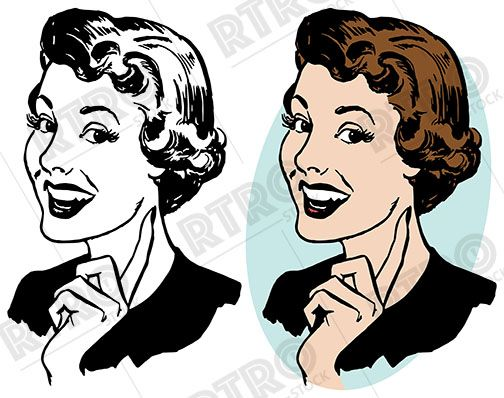 Womans smile clipart banner library A smiling woman gesturing upwards with her pointing finger ... banner library