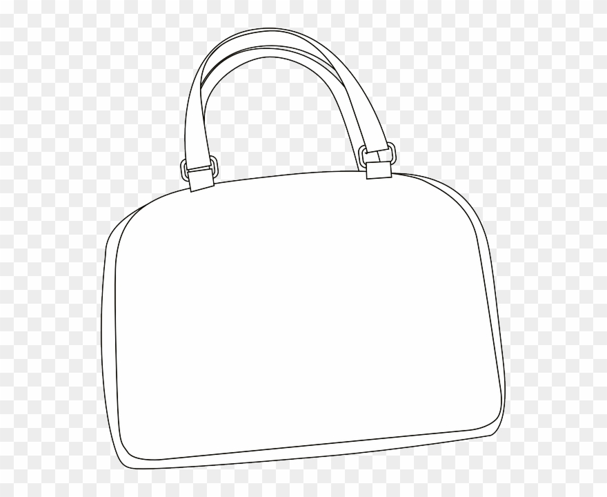 Womans tote clipart black and white royalty free download Download Hd Purse Clipart Handbag Clip Art Bag White - White ... royalty free download