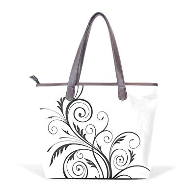 Womans tote clipart black and white picture library library Dragon Sword Large Tote Bag, Flower Pattern Cliparts PU ... picture library library
