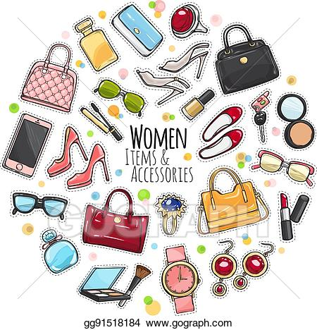 Women accessories clipart image royalty free Vector Stock - Set of different women items and accessories ... image royalty free