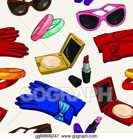 Women accessories clipart clip free download EPS Illustration - Seamless women fashion accessories ... clip free download