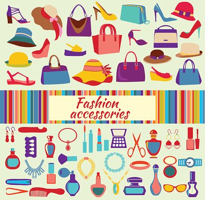 Women accessories clipart banner library Fashion Shopping Background With Women Shoes Bags and ... banner library