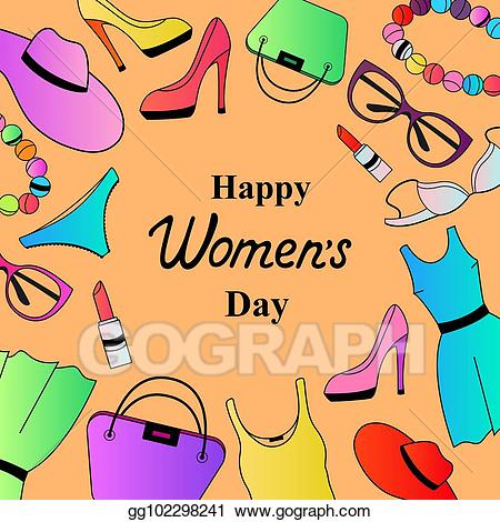 Women accessories clipart graphic free library Vector Clipart - Happy womens day. female clothing and ... graphic free library
