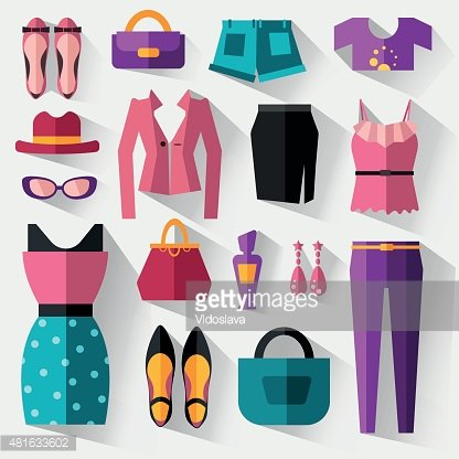 Women accessories clipart image black and white stock Set of Women\'s Clothing and Accessories premium clipart ... image black and white stock
