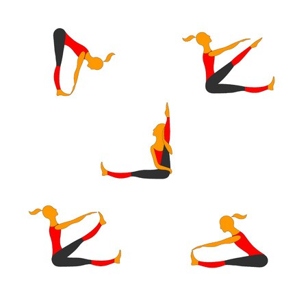 Women all colors clipart free banner free library Women practice gymnastics in different poses. Vector color ... banner free library