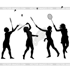 Women badminton player clipart picture royalty free stock Black set silhouette of female badminton player - royalty ... picture royalty free stock