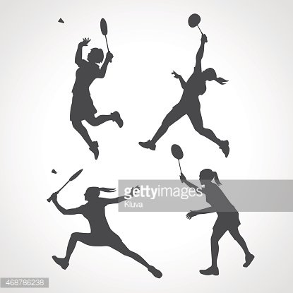 Women badminton player clipart image transparent stock Silhouettes of Women Professional Badminton Players premium ... image transparent stock