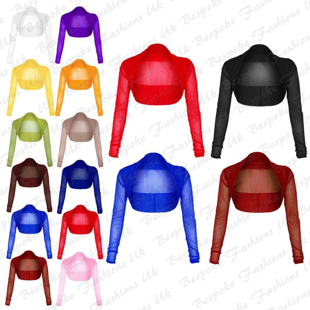 Women bolero clipart image royalty free New Womens Cropped Sheer Mesh Chiffon Long Sleeve Bolero ... image royalty free