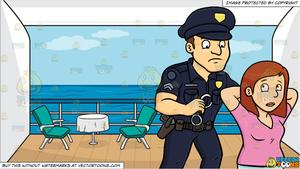 Women breaking handcuffs clipart banner transparent stock A Policeman Placing Handcuffs On A Woman and A Balcony Of A Cruise Ship  State Room Background banner transparent stock