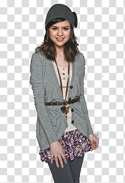 Women cardigan clipart png banner transparent Selena Gomez S, woman wearing gray cardigan and black pants ... banner transparent