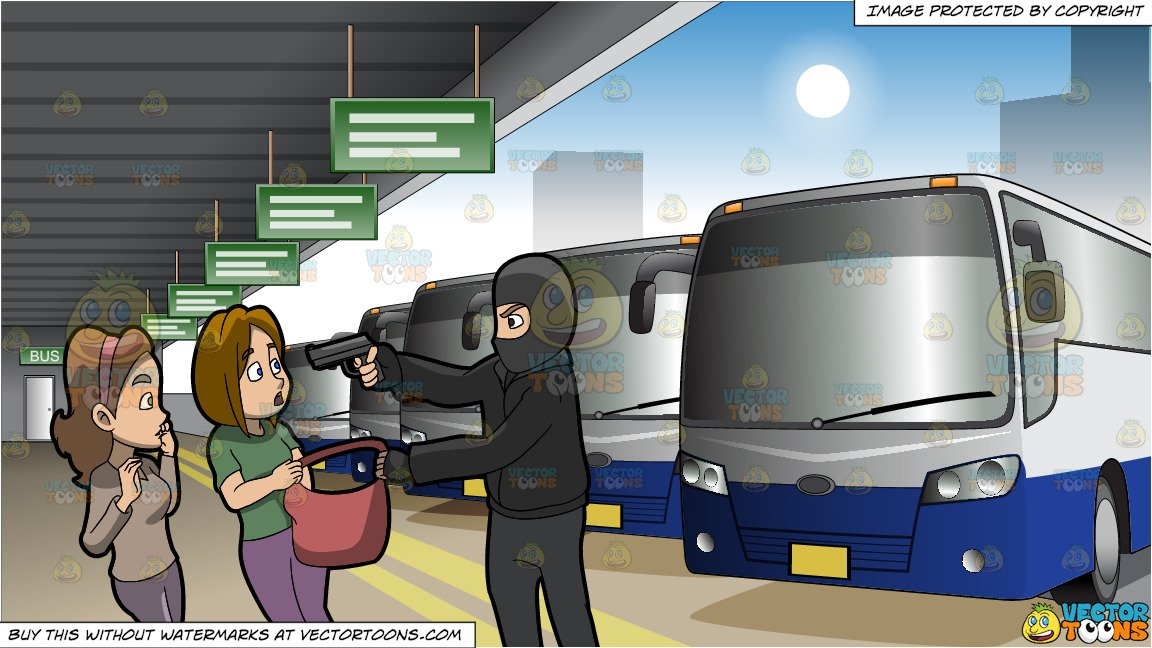Women getting on bus clipart png transparent stock A Man Mugging Two Women and Exterior Of A Bus Station Background png transparent stock