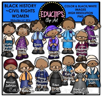 Women history clipart banner royalty free library Black History ~ Civil Rights Women Clip Art Set {Educlips Clipart} banner royalty free library