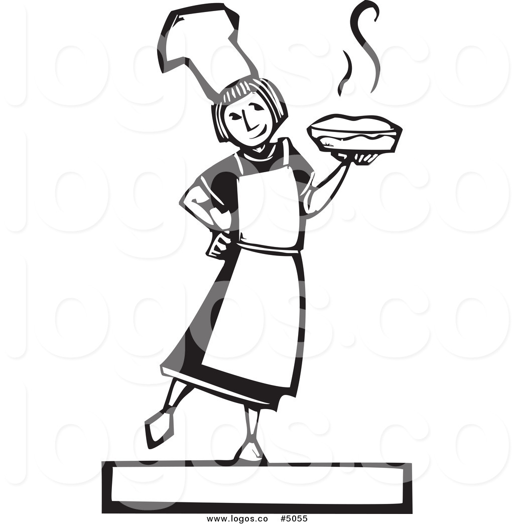 Women holding pie clipart clip Royalty Free Vector of a Woodcut Girl Holding a Fresh Pie ... clip