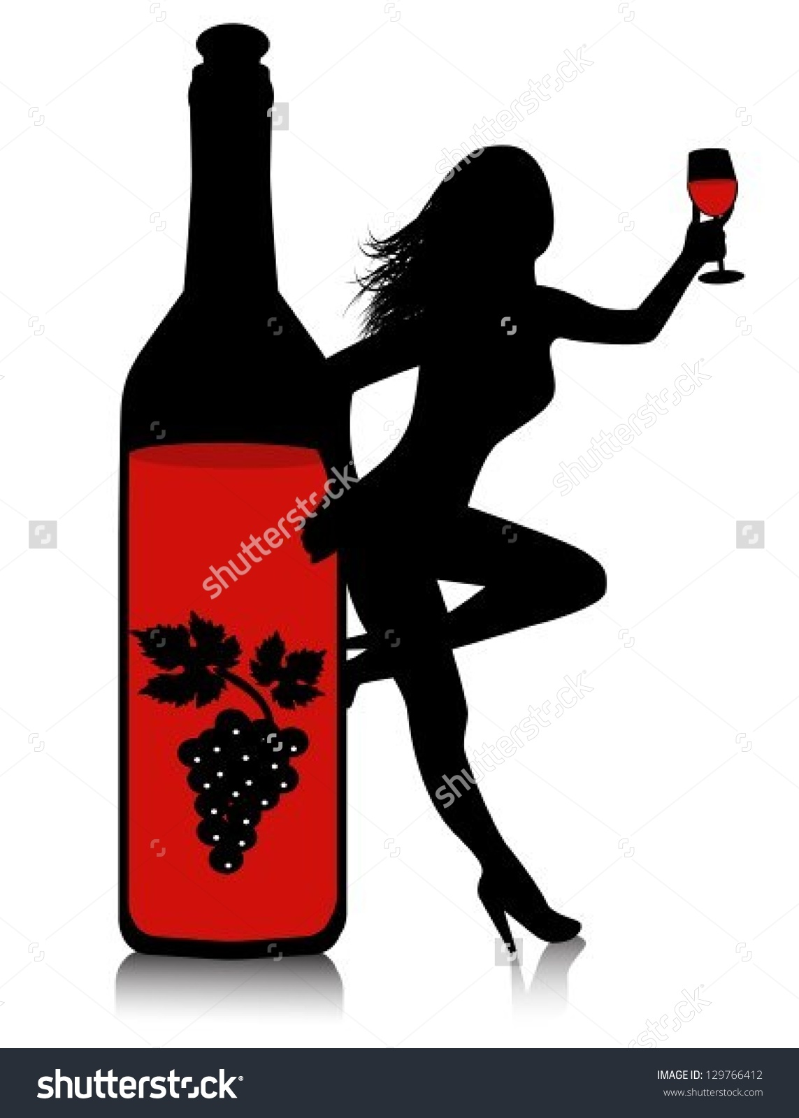 Women holding wine clipart svg library stock Ladies Wine Silhouette Clipart #324131 - Clipartimage.com svg library stock