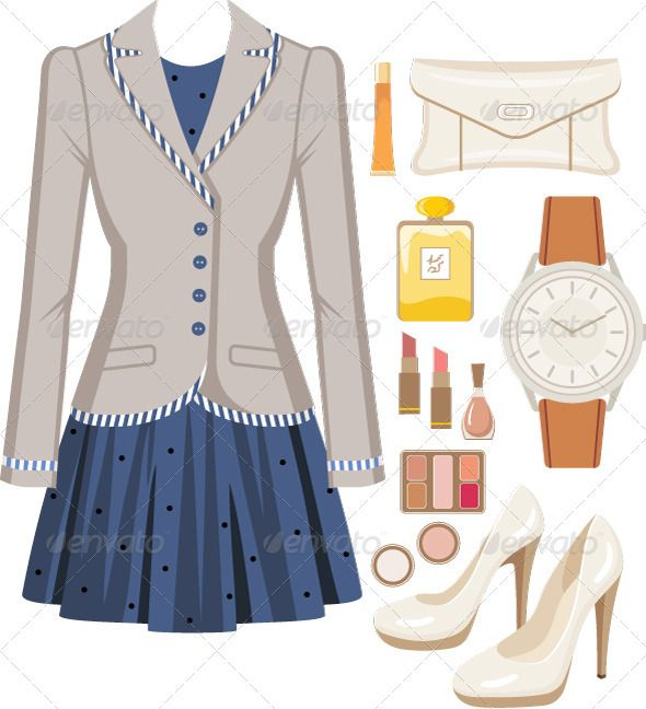 Women in a suit clipart vector library stock Fashion set from a female suit #GraphicRiver Vector ... vector library stock