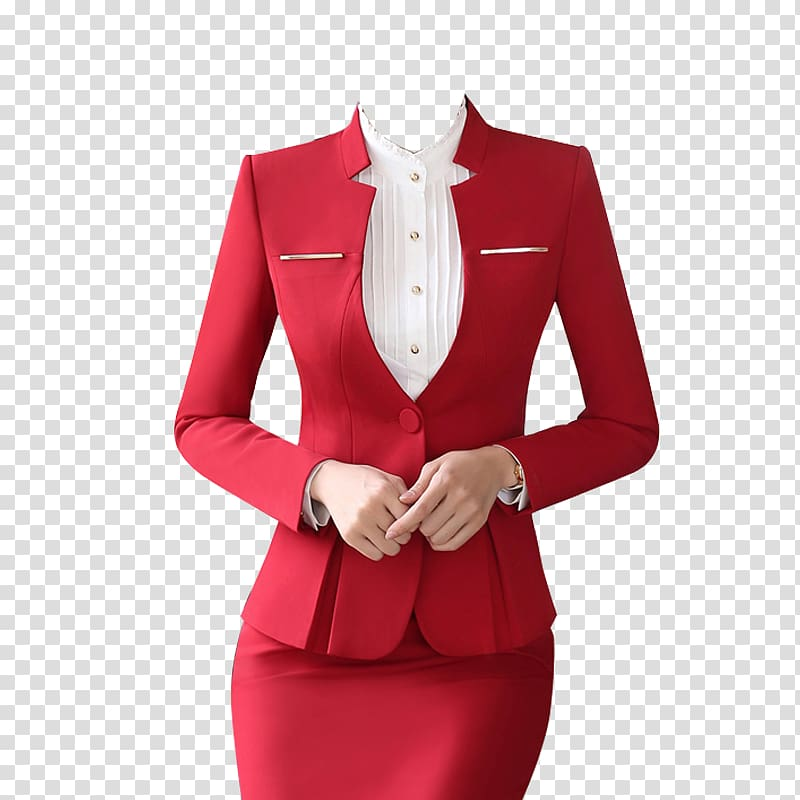 Women in a suit clipart picture black and white library Suit Formal wear Skirt Clothing Dress, Red low collar ... picture black and white library