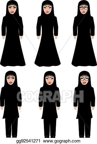 Women in abaieh clipart image freeuse stock EPS Illustration - Muslim woman in black hijab. Vector ... image freeuse stock